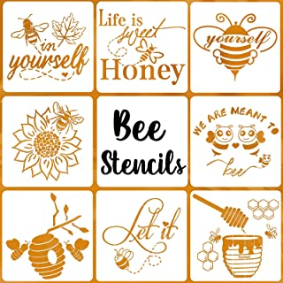 Bee Stencils for Painting on Wood, Honeycomb Stencil Painting Stencils Drawing Template for Walls Sign Home Decor Canvas D...