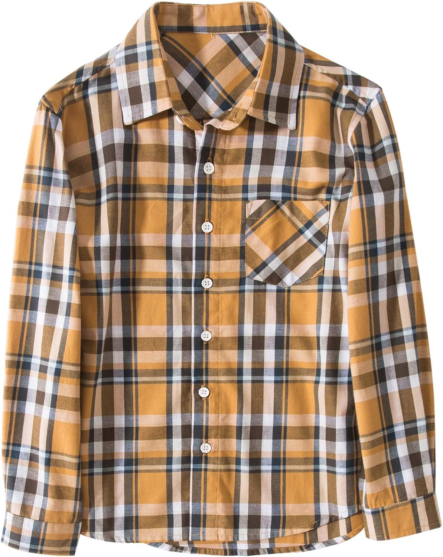 Tronjori Boy's Long Sleeve Button Down Woven Shirt