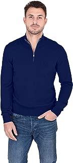 Men's Half Zip Mockneck Pullover 100% Pure Cashmere Zip Up Polo High Neck Sweater