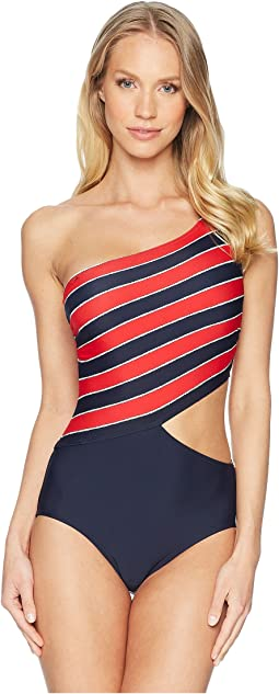 MICHAEL Michael Kors Rope Rugby Stripe One Shoulder Cut Out One-Piece Swimsuit w/ Zipper & Removable Soft Cups
