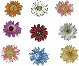 ALL in ONE Daisy Flower Shape Mixed Color Wood Buttons Vintage Buttons with 2 Holes for DIY Sewing Crafts