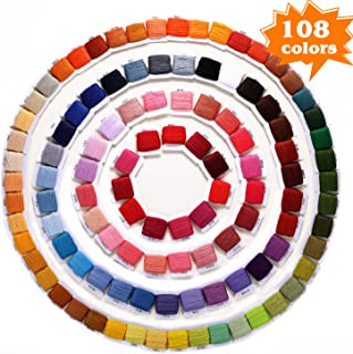 Embroidery Floss, YBQZ Embroidery Thread for Friendship Bracelets String Rainbow Color 108 Skeins Cross Stitch Floss with Floss Bobbins (108 Rainbow Color)
