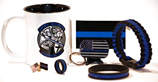 Saint Michael's Shield and Sword Coffee Cup w/Ultimate Thin Blue Line Gift Pack (7) Piece Set