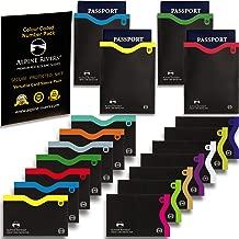 18 RFID Blocking Sleeves (14 Credit Card Holders & 4 Passport Protectors) Ultimate Premium Identity Theft Protection Sleeve Set for Men & Women. Smart Slim Profile Design (Color Numbered Versatile)