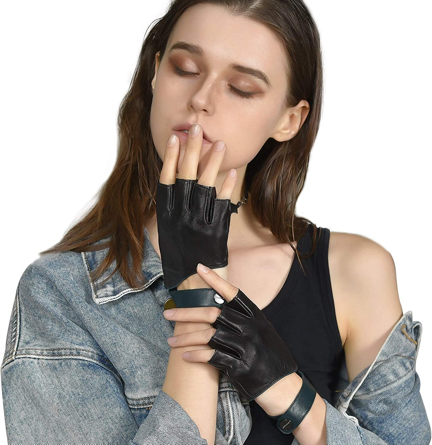 FIORETTO Womens Fingerless Leather Gloves Half Finger Driving Gloves with wristband Motorcycle