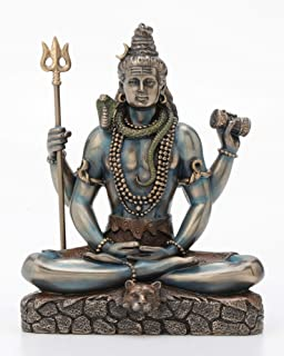 Veronese Design Shiva in Padmasana Lotus Pose Statue Sculpture - Hindu God and Destroyer of Evil Figure