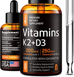 Sponsored Ad - K2 & D3 Vitamin Supplement - Premium Immune Support - Liquid Vitamin D3 10000 IU - Made in The USA - Sublin...