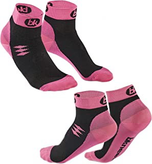 (2 Pairs) BKNEES High Performance Athletic Compression Socks - Running for Men & Women Low Cut