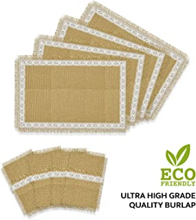 GeetuBerry Set of 4 Rustic Natural Jute/Burlap Table Placemats with Matching Cutlery Holders | Lace Design, Fringes | Thanksgiving, Holidays, Fall, Easter, BBQ, Farmhouse Kitchen Decor (Off White)