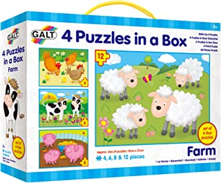 Galt Four Puzzles in A Box - Farm