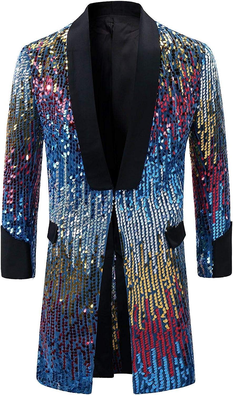 Men's Tuxedo Single-Breasted Party Show Suit Sequins Punk Jacket Blazer