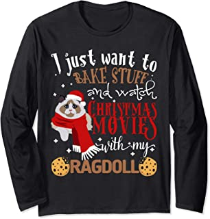 Watch Christmas Movies With My Ragdoll Cat Lover Long Sleeve T-Shirt