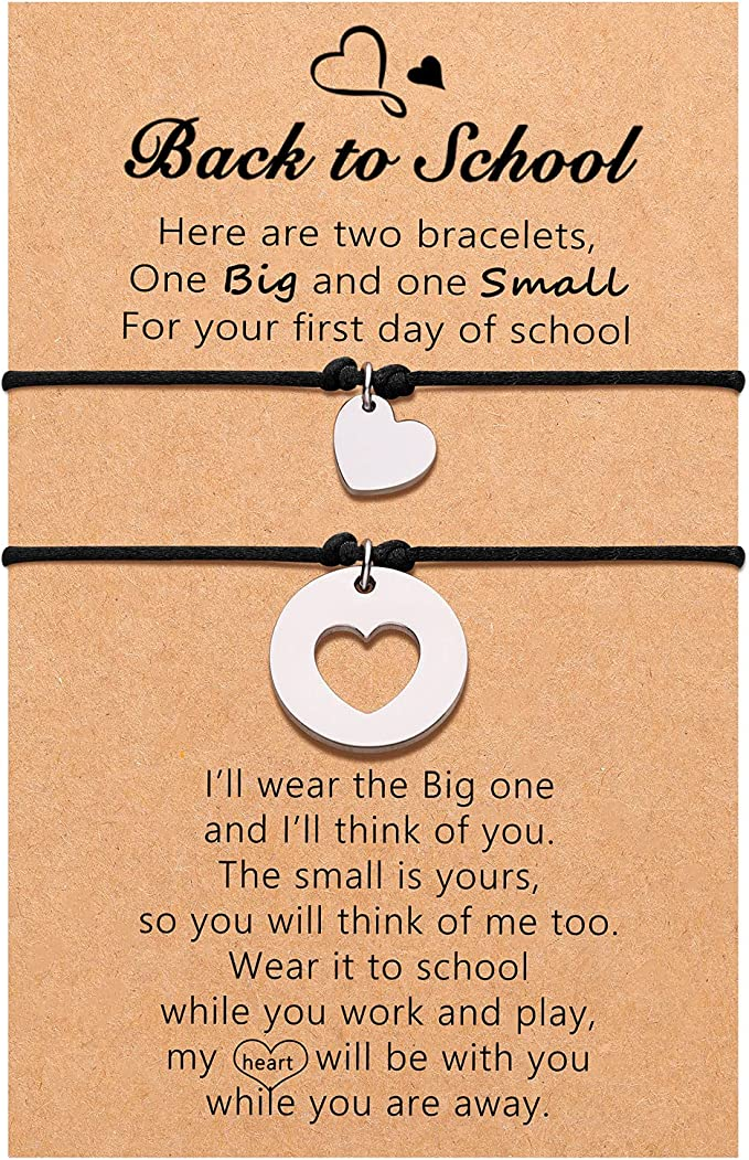 Back to School Gifts, First Day of School Gifts, Mother Daughter Mommy and Me Wish Bracelets Set for Mother Daughter Women Girls