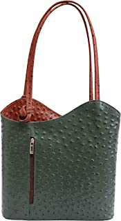 AMBRA Moda Damen Handtasche Lederrucksack Rucksacktasche Backpack 2in1 Rucksack Schultertasche SL703
