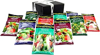 Walden Farms Calorie Free Dressings 5-Flavor Variety: Two 1 oz Packets Each of Honey Dijon, Ranch, Italian, Thousand Island, and Creamy Bacon in a BlackTie Box (10 Items Total)