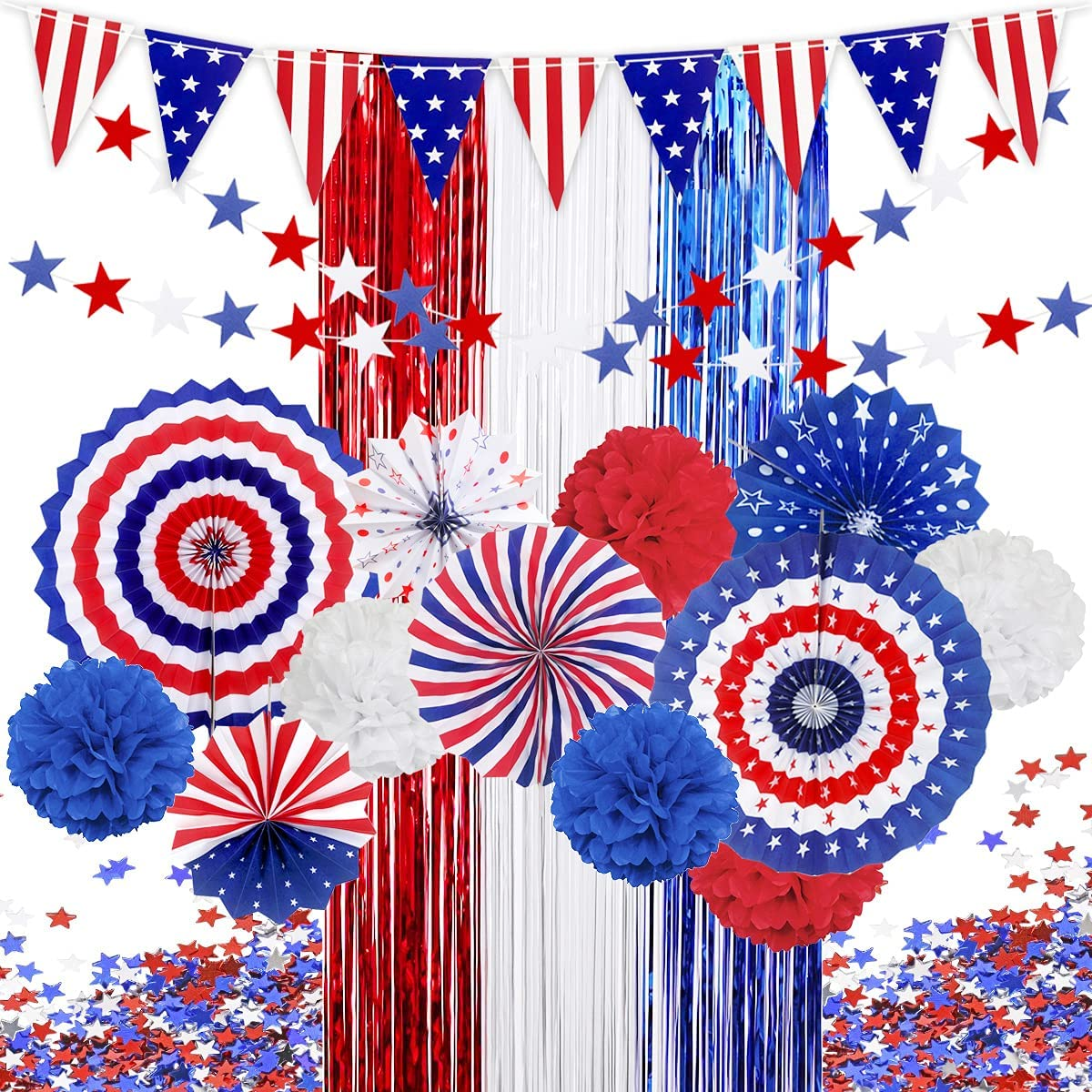 MOVINPE 4th of July Patriotic Party Decorations Set, American Flag Hanging Paper Fans, Pompoms Flowers, Foil Fringe Curtain, Star Streamers, USA Pennant Bunting Independence Day Party Supplies