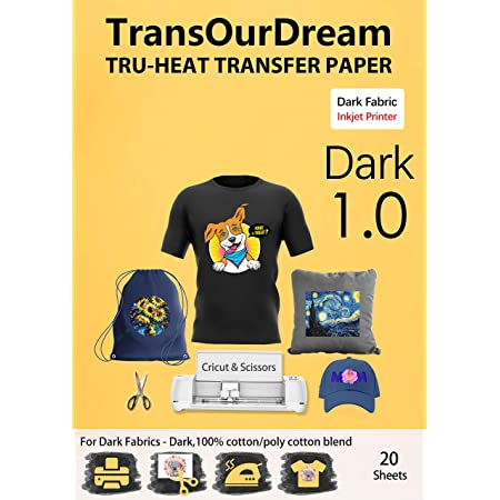 TransOurDream Tru-Heat Transfer Paper for Dark T Shirts & Fabrics 20 Sheets A4 Iron On Transfer Paper with Inkjet Printer Easy to Cricut Bright Colors Printable htv (TRANS-07)