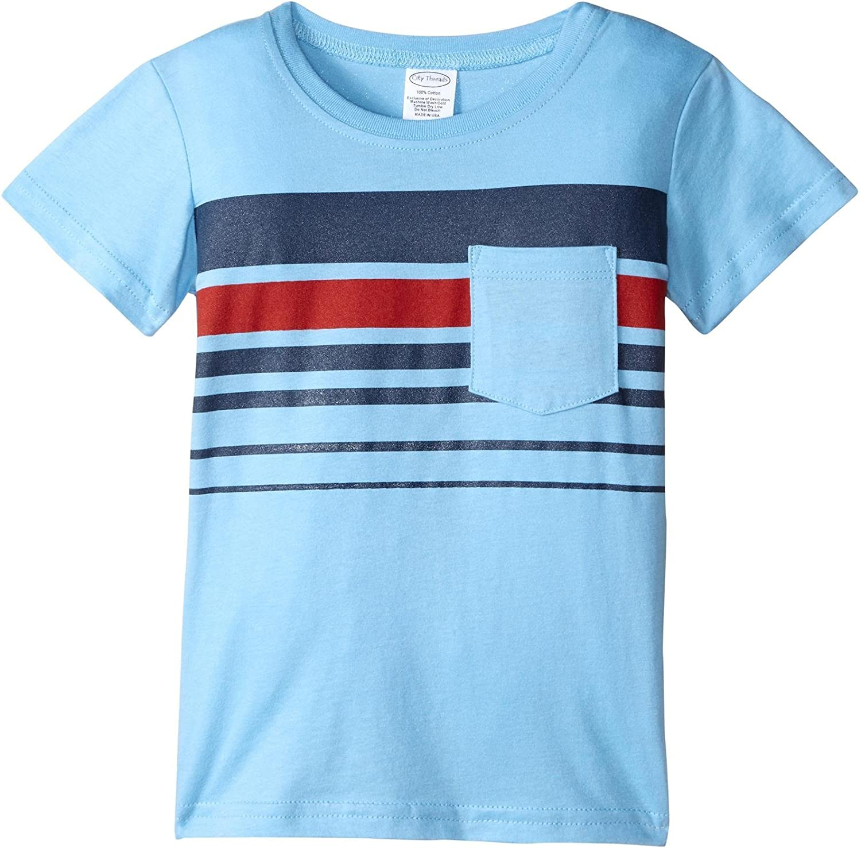 City Threads Boys' Printed Stripe Soft Jersey Pocket Tee, 2t-4t