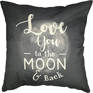 Arundeal I Love You to The Moon and Back 18 x 18 Inch Cotton Linen Square Throw Pillow Cover, Dark Grey