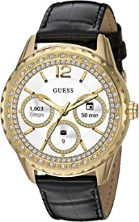 GUESS Women's Stainless Steel Android Wear Touch Screen Leather Smart Watch, Color: Black (Model: C1003L2)