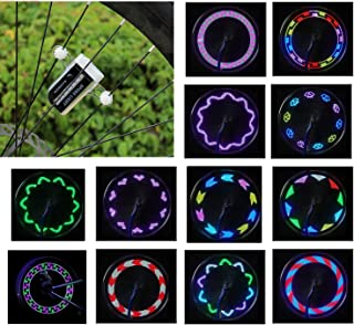 Vincilee Bicycle Wheel Lights, Bicycle Spoke Lights, Outdoor Bike Safety Accessories Bike Wheel Lights 30 Kinds of Change Patterns, LED Light Bulbs , Completely Waterproof Black Appe(1pack