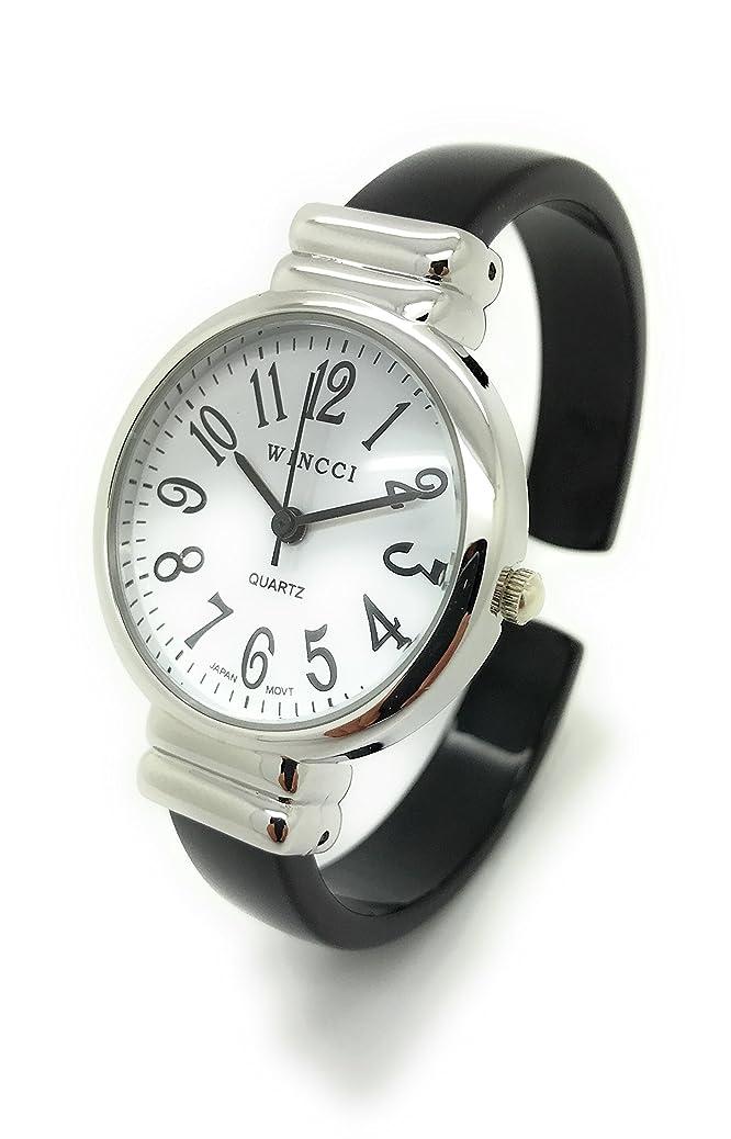Ladies Stylish Acrylic Bangle Cuff Fashion Watch Round Case White Dial Wincci cnyq1693340833