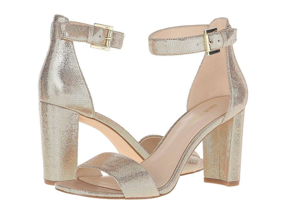 Nine West Nora Block Heel Sandal (Gold Metallic) Women