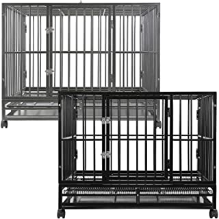 SmithBuilt Heavy-Duty Dog Crate Cage - Two-Door Indoor Outdoor Pet & Animal Kennel with Tray - Various Sizes & Colors