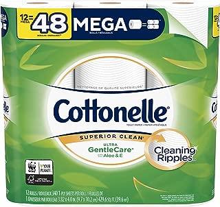Cottonelle Ultra GentleCare Toilet Paper, 4 Packs of 12 Mega Rolls, 48 Mega Rolls Total, Sensitive Bath Tissue with Aloe & Vitamin E