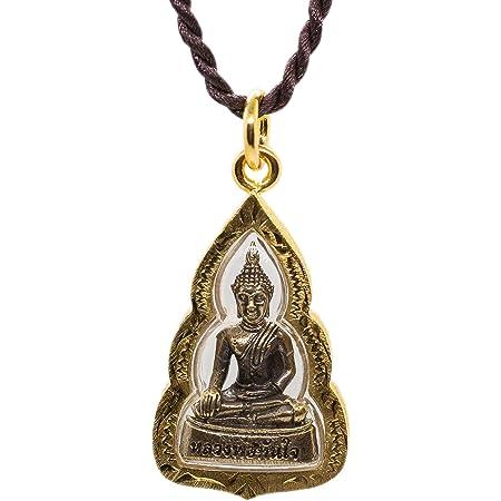 Golden Thai Seated Buddha Vajra Mudra talisman pendant luck protection.
