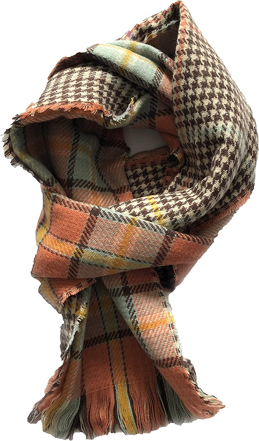 Runtlly Women's Retro Voile Soft Houndstooth Reversible Dual Purpose Wrap Shawl
