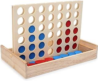 LanYo 木製 折りたたみ式 立体 四目並べ ボード 対面 ゲーム 3次元四ゲームチェスパズル– 4つの木製クラシックファミリ 卓上ゲーム パズルゲーム 旅行ゲーム