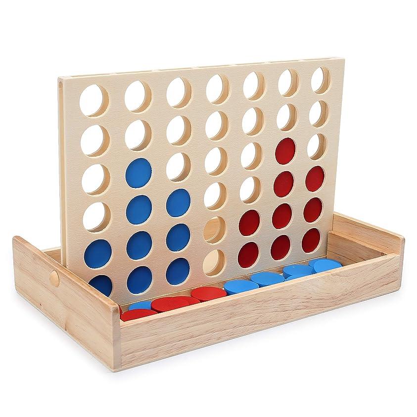 カヌー色動機LanYo 四目並べ 立体パズル 木製 折りたたみ式 ボード 対面 ゲーム パズルゲーム 旅行ゲーム