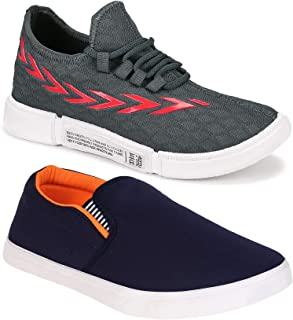 Camfoot Men's (9285-486) Casual Sports Running Shoes (Set of 2 Pair)