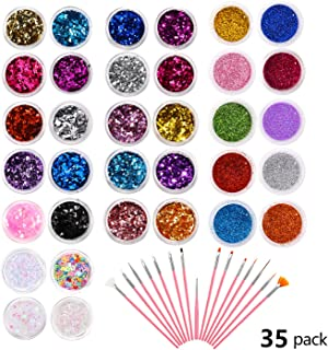 Phogary 34 Boxes Glitter Set with 15 PCS Nail Art Brushes, Multi-color Powder Sequins Iridescent Flakes for Nail Art Decoration, Craft, Makeup, Paints, Slime Supplies