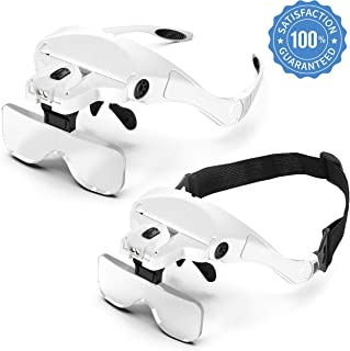 Pancellent Head Magnifier Glasses with 2 Led Professional Jeweler's Loupe Light,Headband Magnifying with 9Pcs Precision Tweezers Set