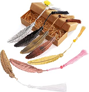 7 Pieces Vintage Metal Feather Bookmarks with Tassels and Beaded for Adults and Kids,Perfect Kids Office School Reading an...