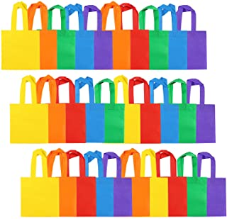 Aneco 30 Pieces 8 by 8 Inches Non-Woven Party Bags Tote Bags Party Goodie Treat Bag Rainbow Colors Gift Bag with Handles f...