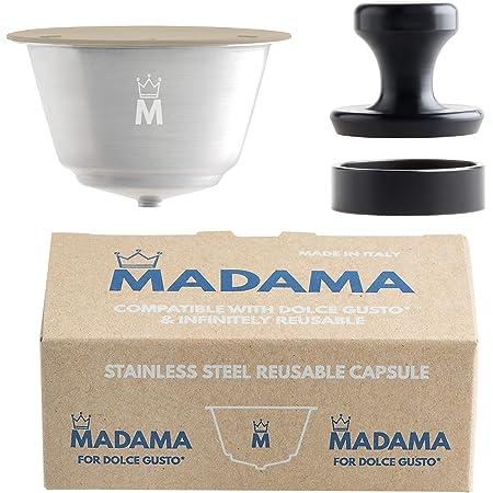 Madama - Capsule de café Dolce Gusto rechargeable, réutilisable et compatible. Acier inoxydable et silicone de qualité alimentaire. Pack de 1 dosette