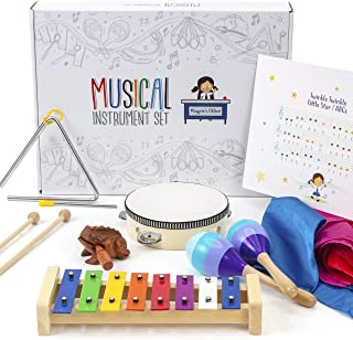 Kids Musical Instruments Toys for Toddlers Set – Fun, Educational Kids Toys with Glockenspiel, Tambourine, Maracas, Triangle, Frog Guiro, 4 Dance Scarves + Wooden Crate & Color-Coded Sheet Music