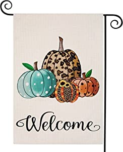 Fall House Flag Vertical Double Sided, Autumn Welcome Fall Flag Farmhouse Leopard Pumpkin Garden Flag for Yard Harvest Thanksgiving Fall Outdoor Decorations 12.5 x 18 Inch