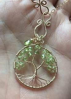 Peridot Charm Tree of Life August Birthstone 1st Anniversary Necklace Gold Leo Virgo 16th Anniversary