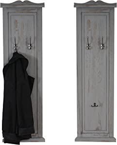 Mendler 2 x Wall-Mounted Coat Rack Panel Wall Hooks 109 x 28 x 3.5 CM, Vintage Shabby-Look Grey