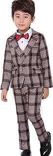 C-Princess 子供服 スーツ 紳士服 3点セット ジャケット ベスト ズボン ジュニア キッズ 男の子 ボーイズ チェック柄 フォーマル 発表会 演奏会