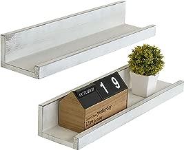MyGift Set of 2 Vintage White Wood 24-Inch Wall-Mounted Ledge Shelves