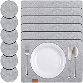FYY Placemats for Dining Table Set of 6, [Heat Resistant] Non Slip Felt Table Placemats Set of 6 with 6 Coasters Washable ...