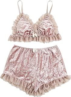 DIDK Women's Lace Trim Velvet Bralette and Shorts Pajama Set