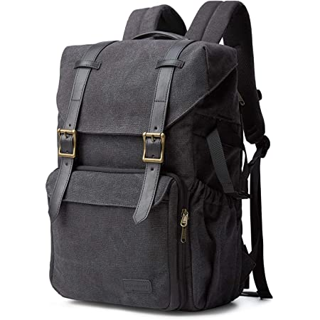 """Camera Backpack, BAGSMART Camera Bag Anti-Theft DSLR SLR Canvas Backpack Fit up to 15"""" Laptop with Rain Cover, Tripod Holder for Women and Men,Black"""