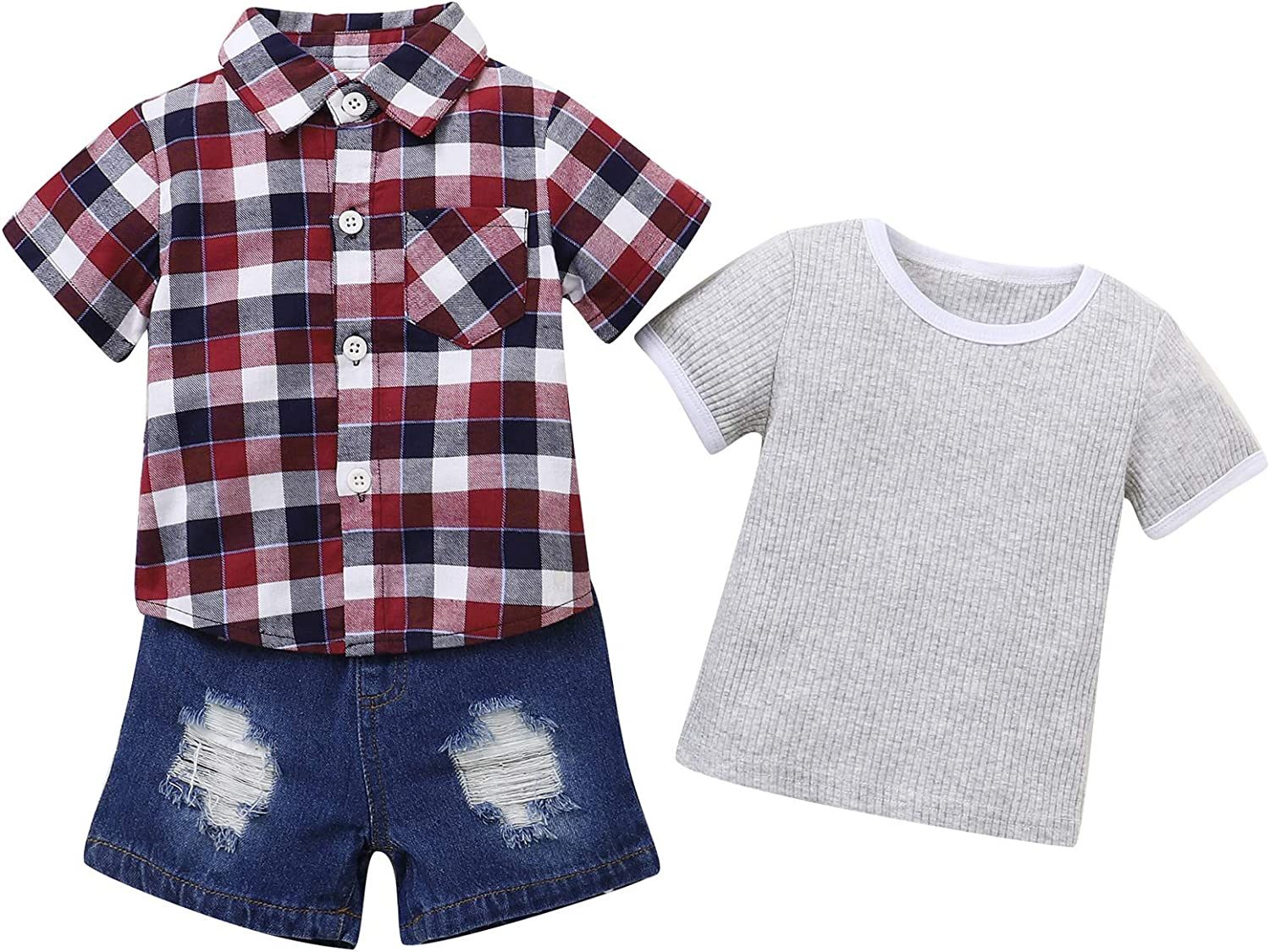 Toddler Baby Boy Clothes Summer Outfits Shorts Set Botton Down Shirt Tops Jeans Boy Clothes Outfits Set