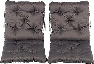 Meerweh Cojín para silla con respaldo y asiento con cintas de 50 x 98 cm, acolchado para silla de jardín, color gris, juego de 2